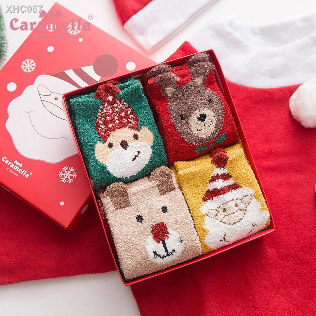 【現貨】✹CARAMELLA秋冬可愛卡通襪子女地板襪半邊絨圣誕日系中筒睡眠長襪特賣專場