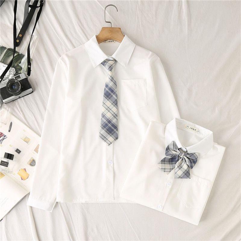 制服襯衫女長袖 新款寬松學生白色襯衣打底上衣