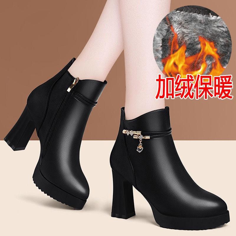 【爆款】紅綪綎粗跟馬丁靴秋冬靴子女短靴2020新款高跟防水臺裸靴水鉆單靴