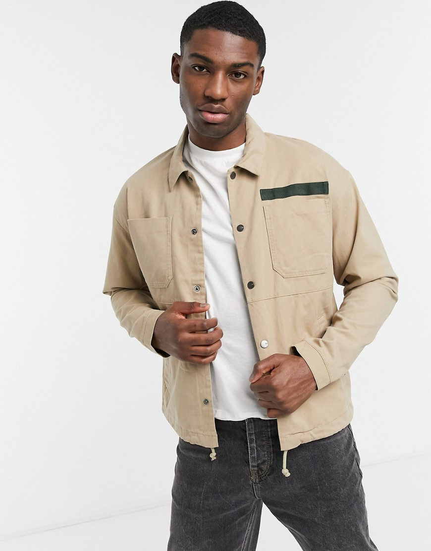 Only & Sons overshirt jacket in beige-Neutral