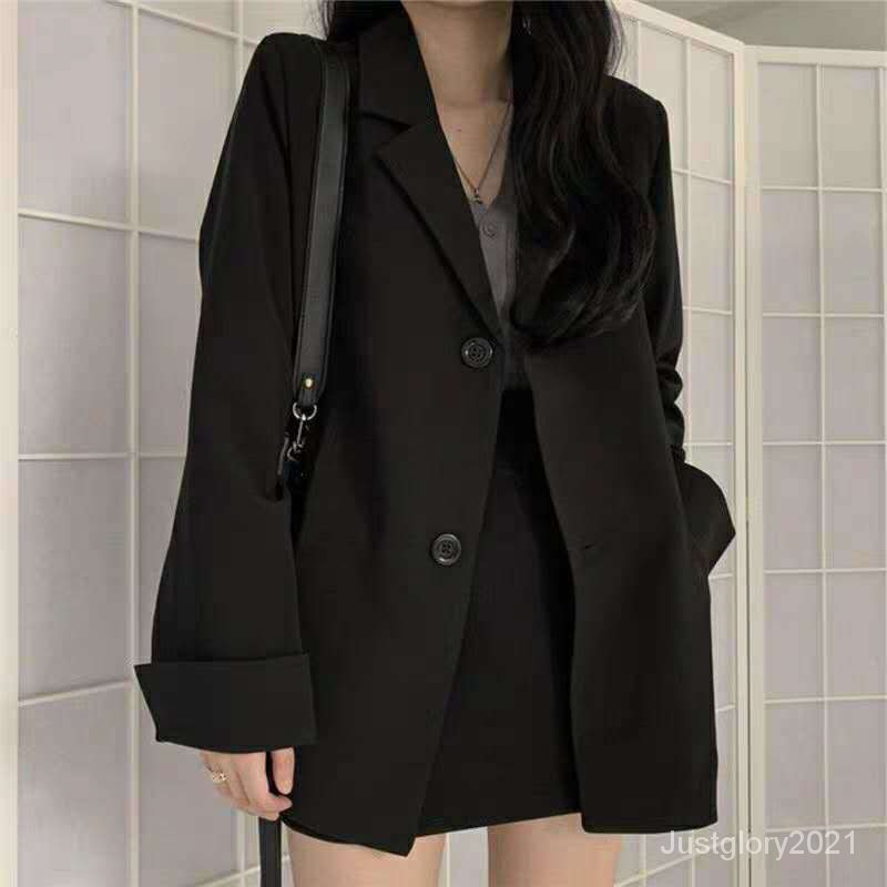 寬鬆百搭西裝外套網韓版黑色洋氣小個子上衣小西服秋冬季紅學生女
