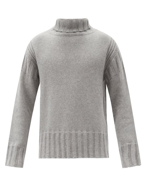 Jil Sander - Roll-neck Ribbed-edge Cashmere Sweater - Mens - Grey