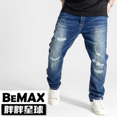 【胖胖星球】中大尺碼‧個性破壞感刷色牛仔褲 38~50腰‧加大【88302】