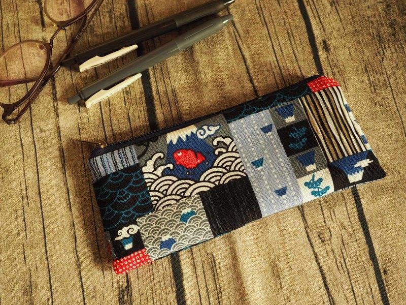 手工製作和風日本富士山圖案 筆袋 眼鏡袋 餐具袋