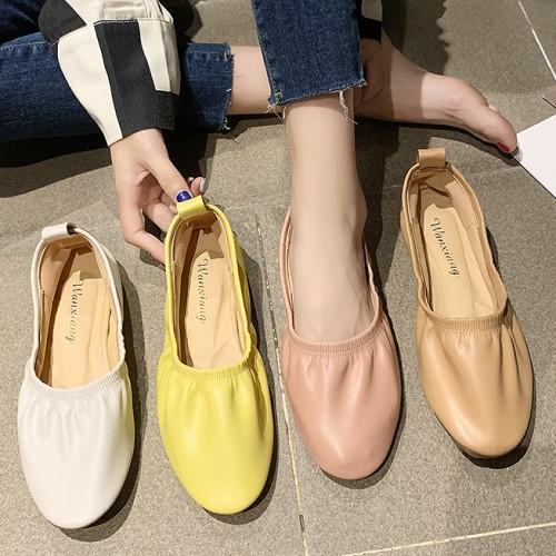 可彎折娃娃鞋.韓版熱銷馬卡龍舒適抓皺平底包鞋.白鳥麗子