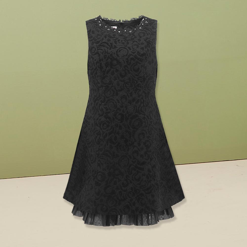 ILEY伊蕾 奢華織蔥緹花壓褶裙襬洋裝(黑)951768