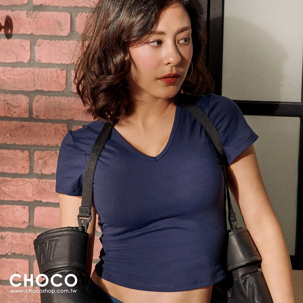 呼吸感觸‧短版美背交叉運動上衣(藍色) S~XL Choco Shop