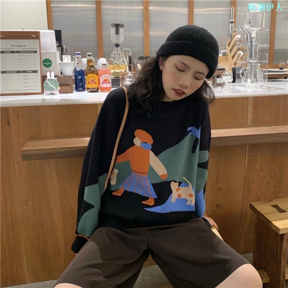 毛衣女寬松外穿2020秋冬裝新款慵懶風圓領韓版學生針織衫卡通上衣