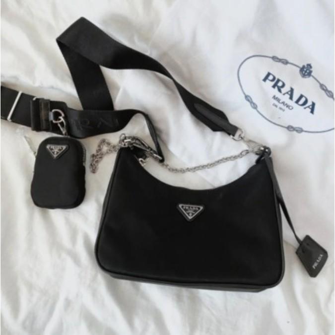 專櫃正品 PRADA nylon Hobo 手拎/腋下包 最新款三合一 斜背包現貨