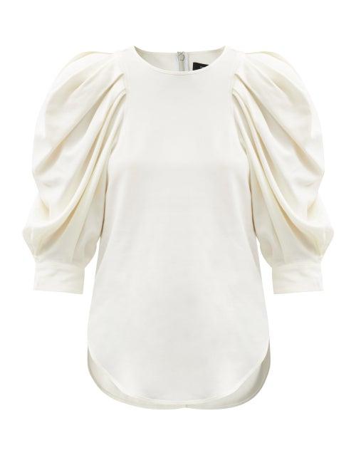 Isabel Marant - Surya Puffed-sleeve Crepe Top - Womens - White