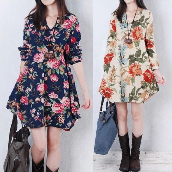 M-2XL日韓風顯瘦秋冬新款長袖V領印花棉麻連身裙長袖洋裝(2色)-凱西娃娃