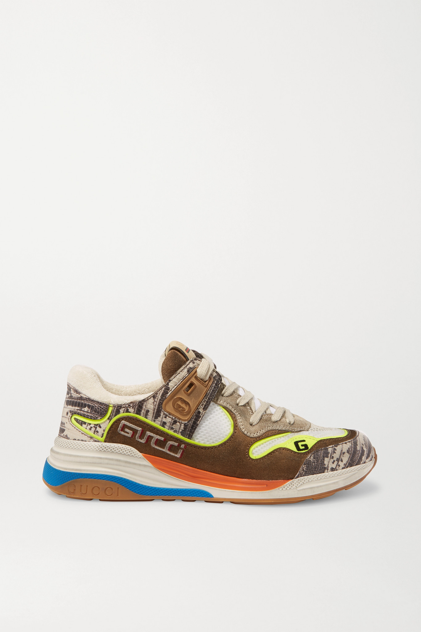 GUCCI - Ultrapace Snake-effect Leather, Mesh And Distressed Suede Sneakers - Brown - IT35