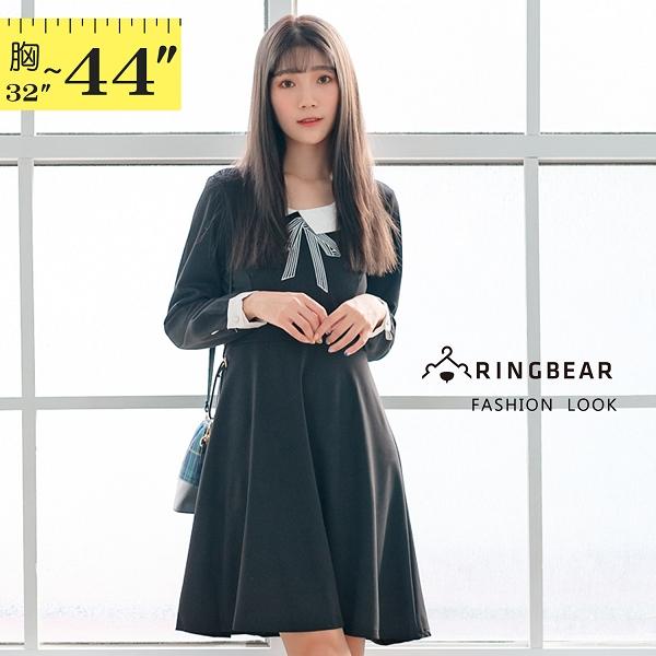 氣質洋裝--氣質可愛撞色娃娃領珍珠釦A字寬鬆修身長袖連衣裙(黑M-2L)-A360眼圈熊中大尺碼