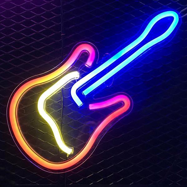 【南紡購物中心】【Light in Plan O】造型背板霓虹燈 - 吉他