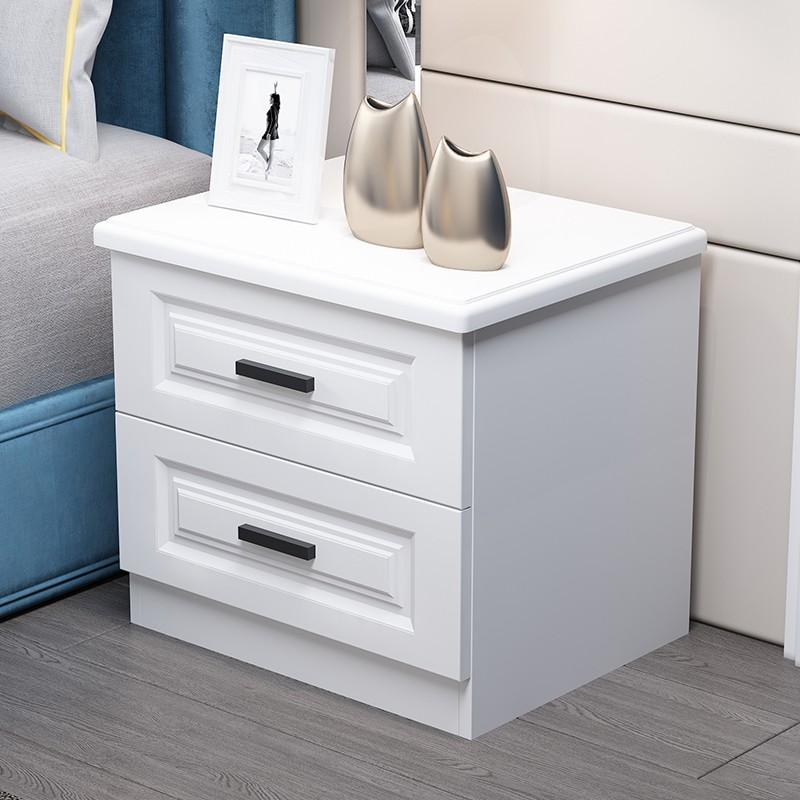 現貨##創意北歐床頭柜臥室簡約現代輕奢風白色環保吸塑簡易儲物邊