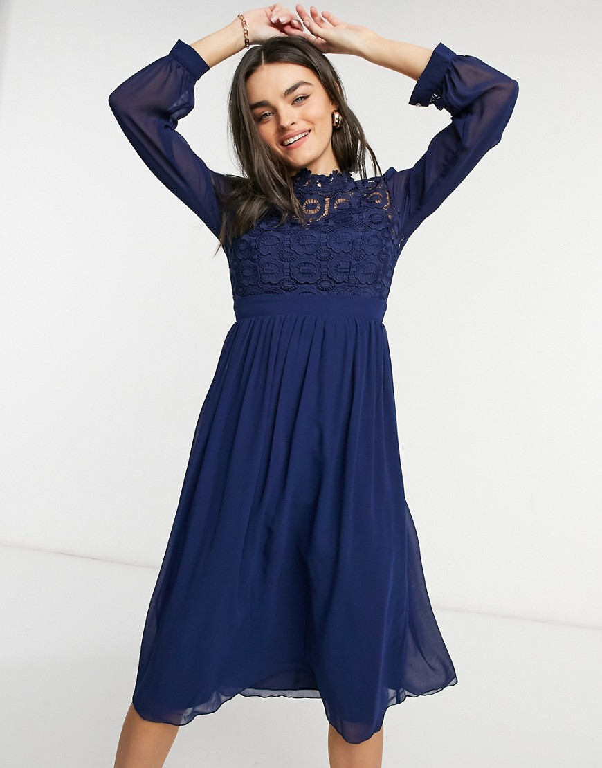 Little Mistress high neck pleated midi dress in navy