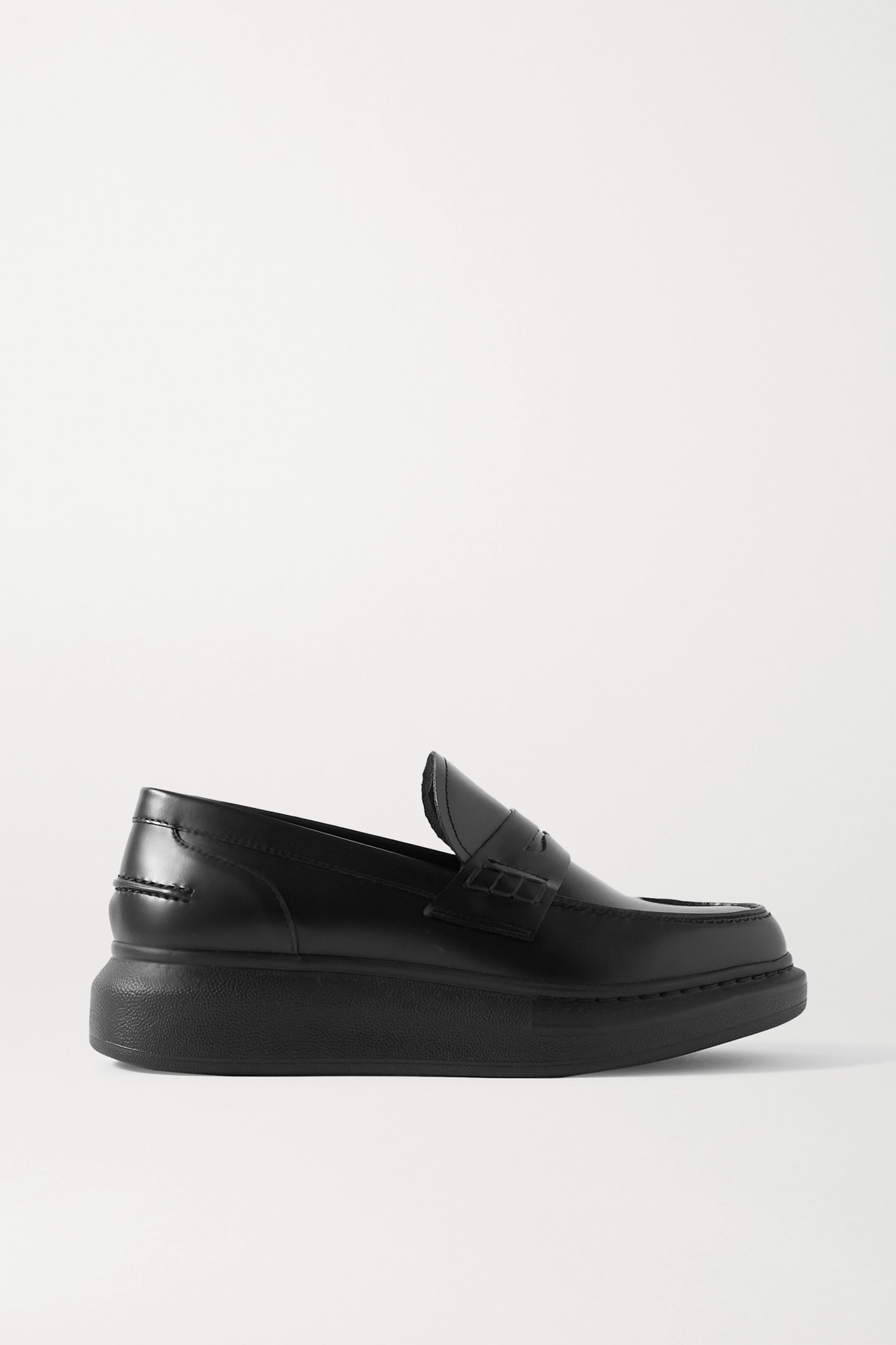 ALEXANDER MCQUEEN - Glossed-leather Exaggerated-sole Loafers - Black - IT35