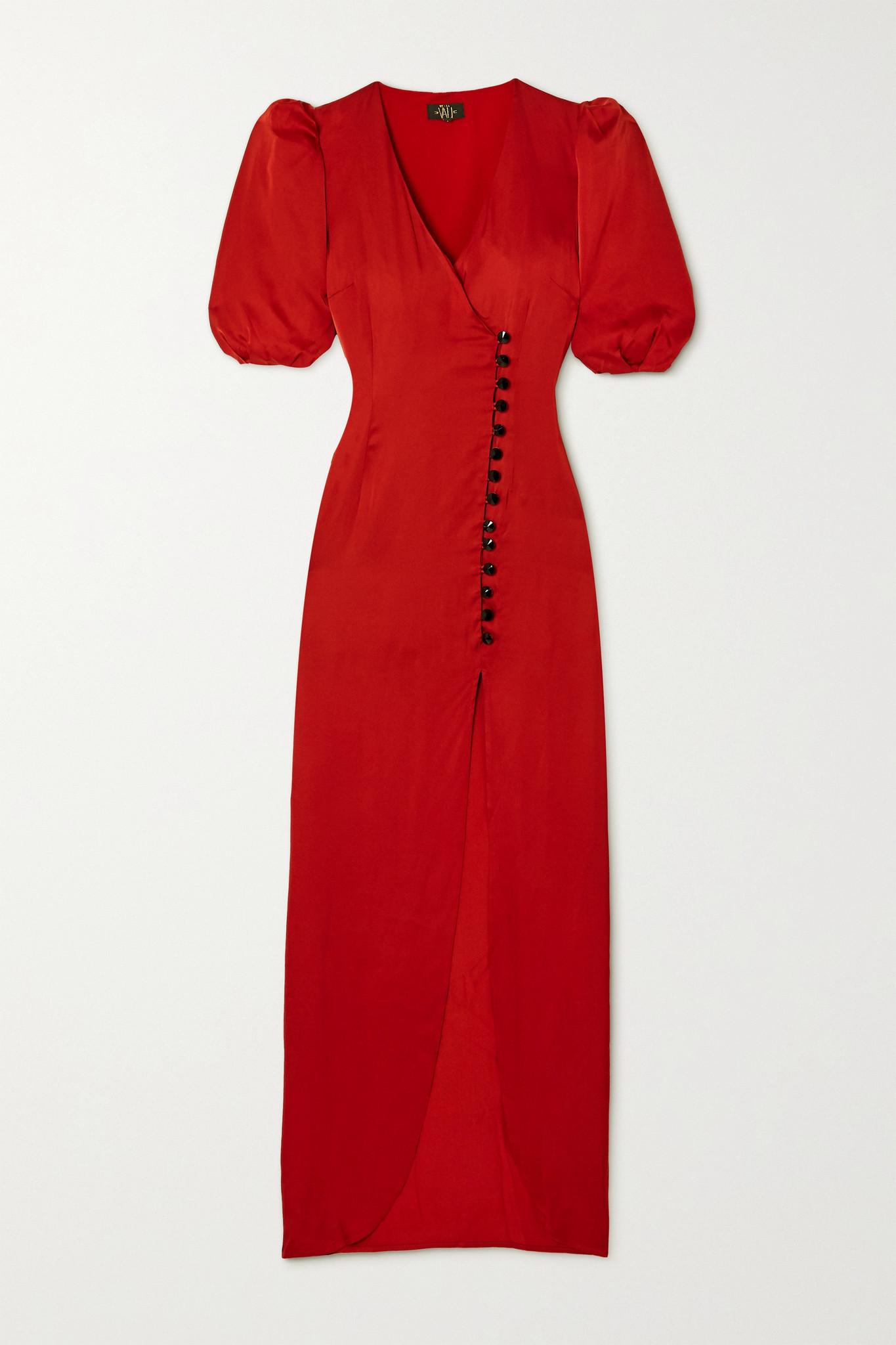 DE LA VALI - Ohio Crystal-embellished Satin Maxi Dress - Burgundy - UK10