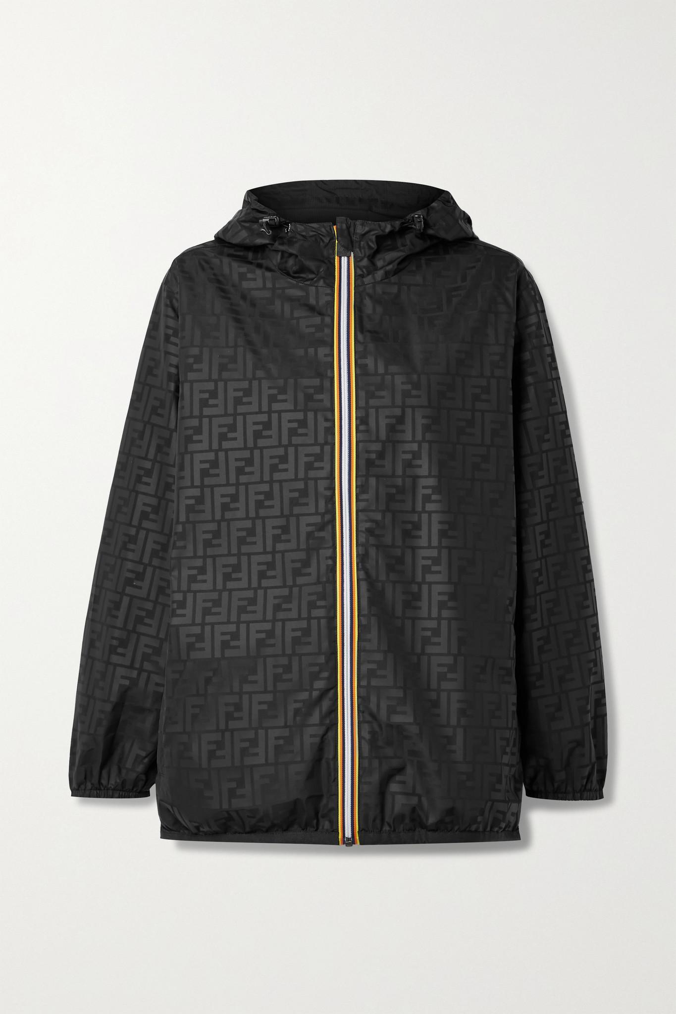 FENDI - X K-way 正反两穿印花软壳面料格子布连帽夹克 - 黑色 - large