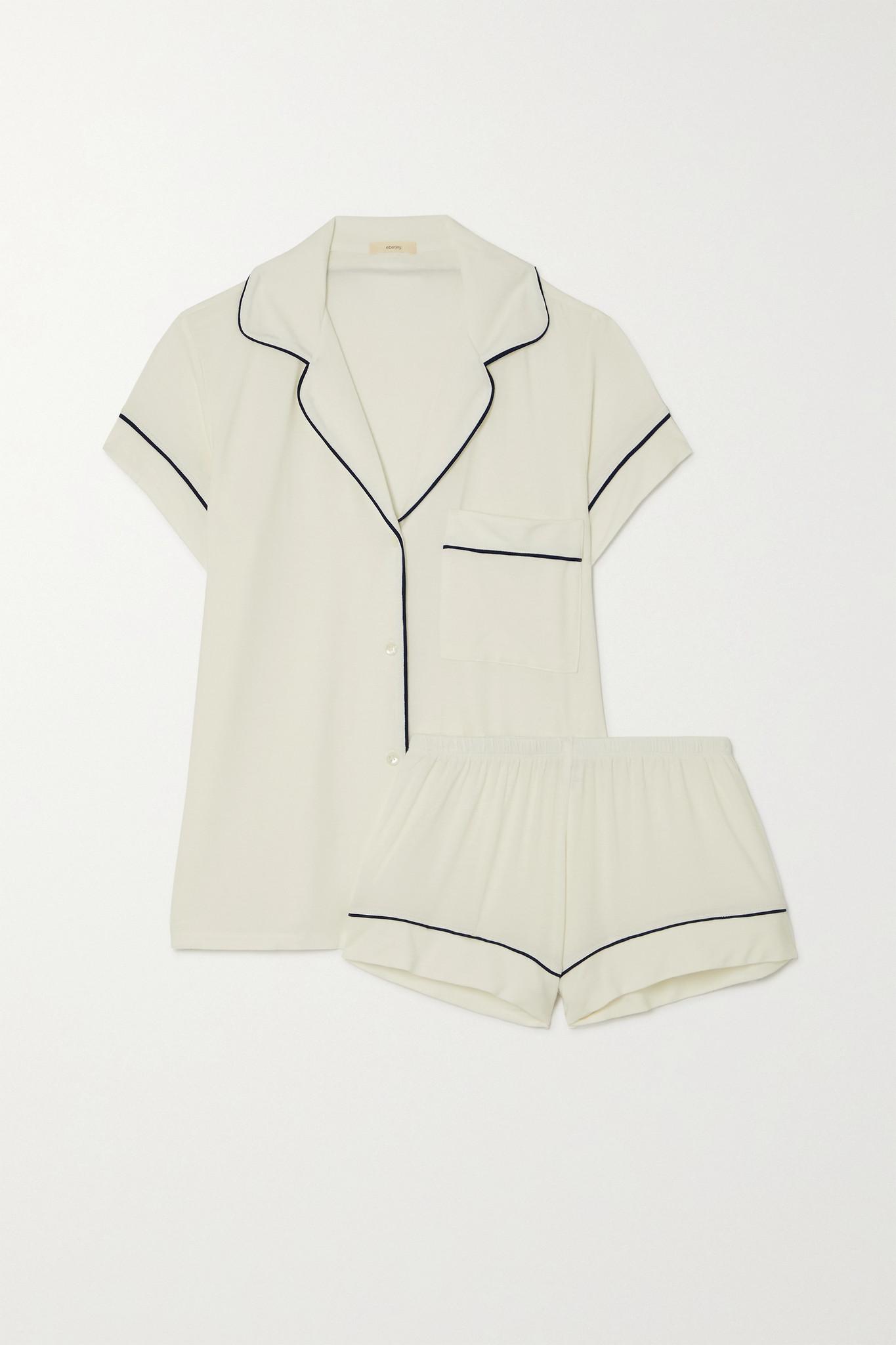 EBERJEY - Gisele Stretch-modal Pajama Set - Ivory - large