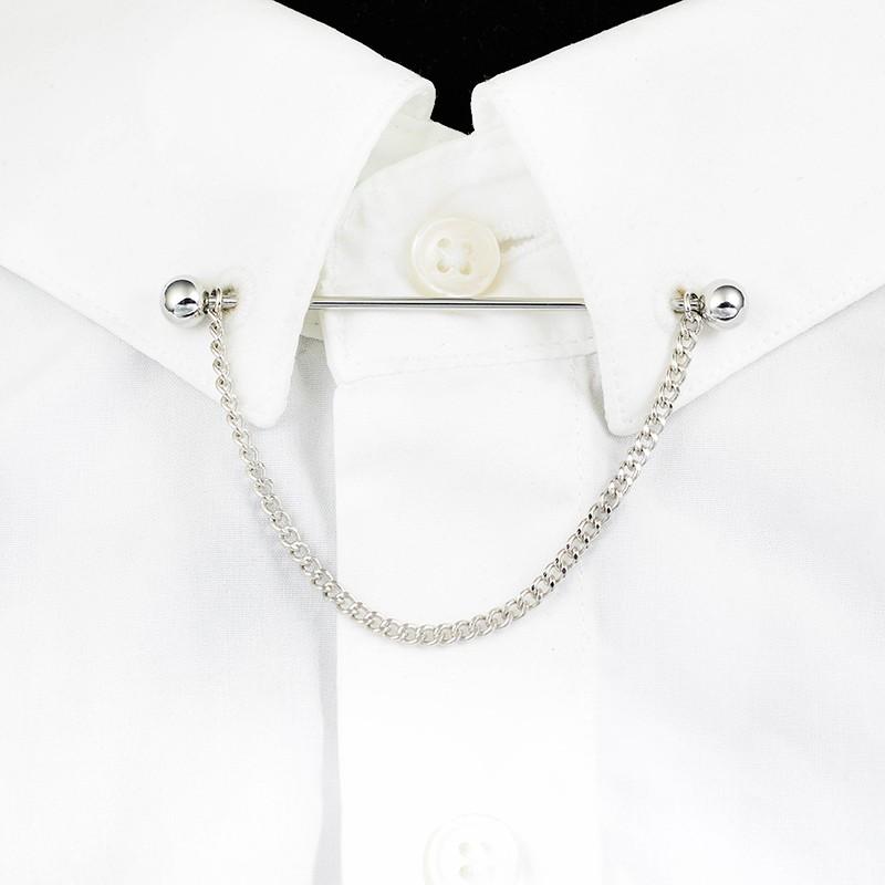 【狂野小子】高檔針孔領襯衫配飾時尚男流蘇鏈條領帶針領棒針復古領帶棒衣領花