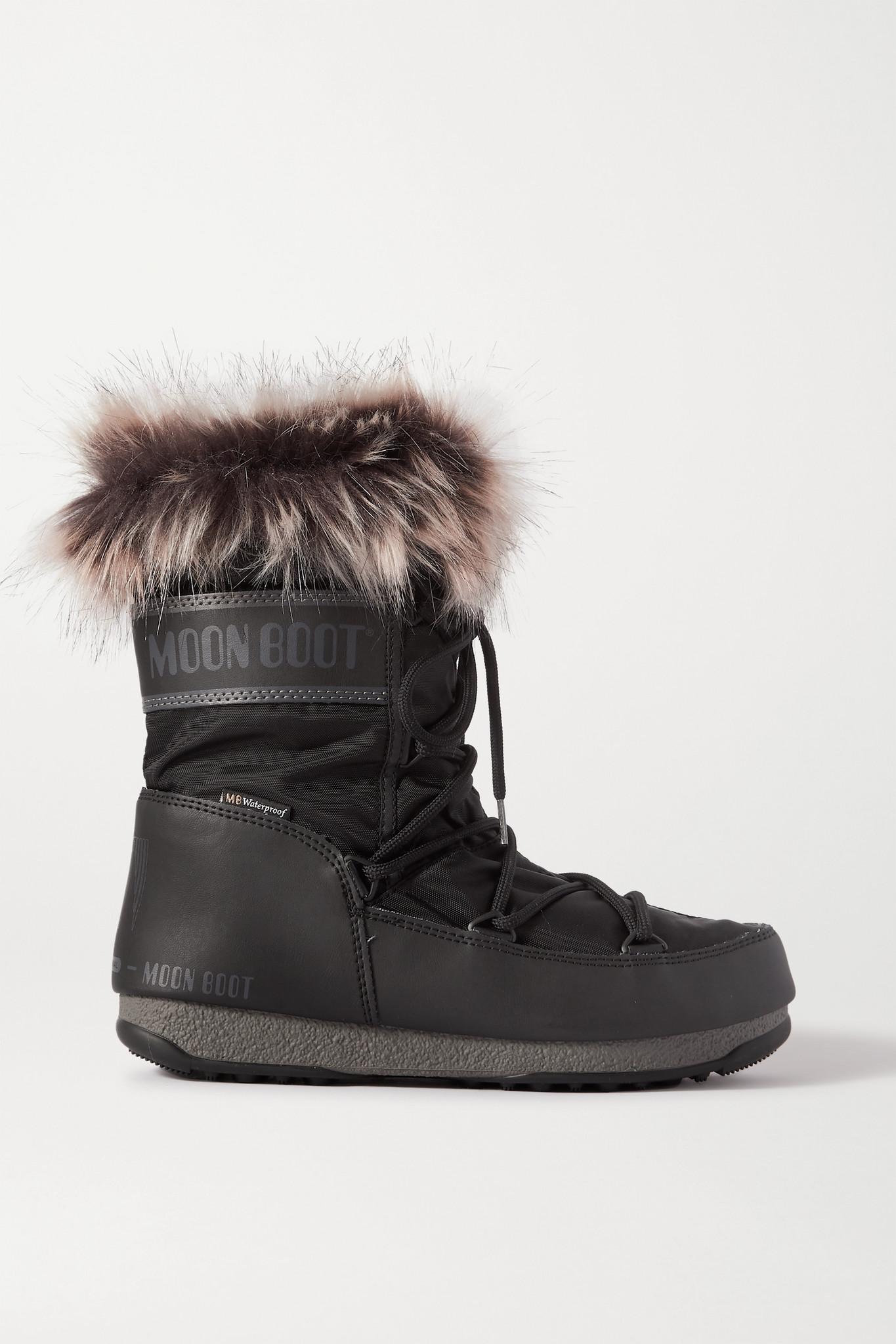 MOON BOOT - Monaco 人造皮草边饰软壳面料人造皮革雪地靴 - 黑色 - IT42
