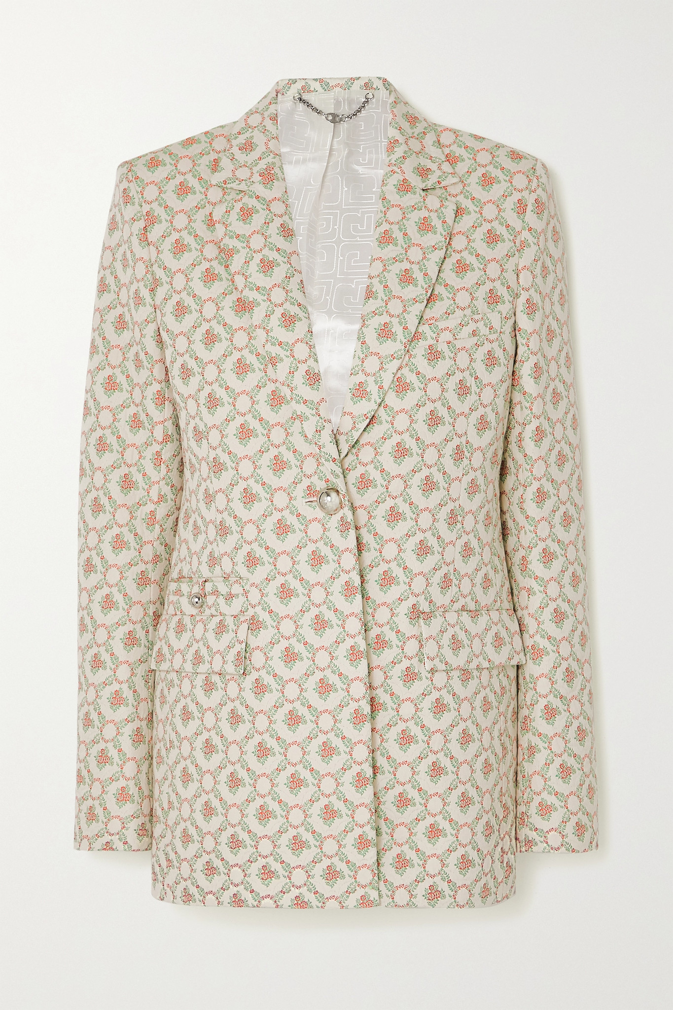PACO RABANNE - 绗缝棉质混纺花卉提花西装外套 - 中性色 - FR38