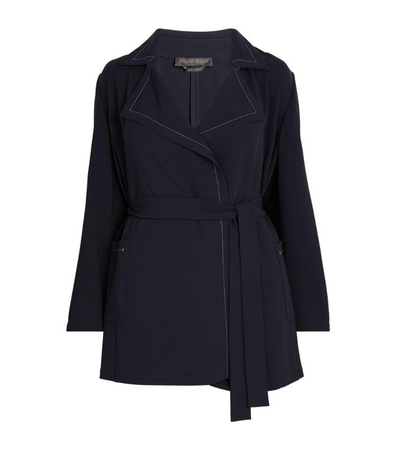 Marina Rinaldi Contrast-Stitch Belted Jacket