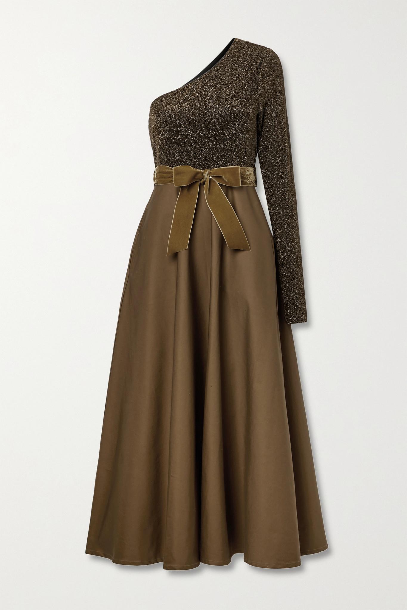 ARTCLUB - + Net Sustain Casa Miller Velvet-trimmed Cotton-twill And Stretch-lurex Wrap Maxi Dress -