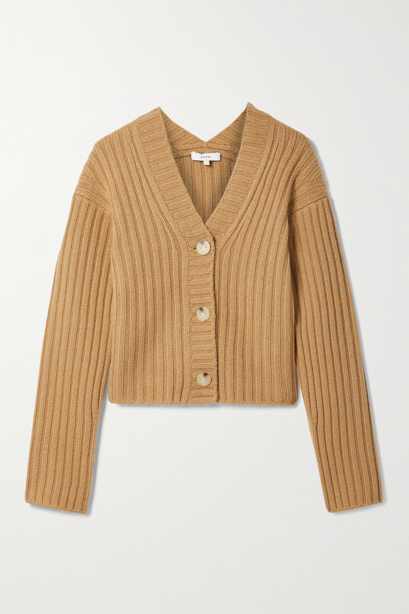 VINCE - 罗纹羊毛羊绒混纺短款开襟衫 - 中性色 - x large