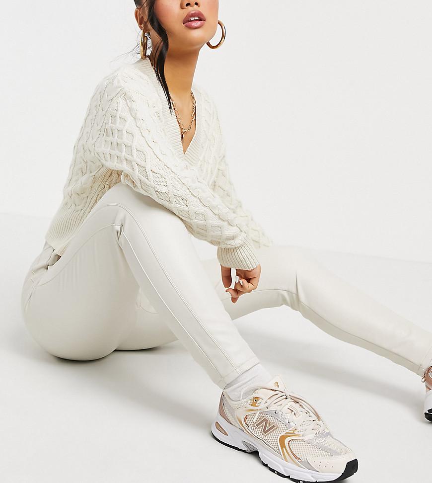 Miss Selfridge Petite faux leather leggings in cream-White