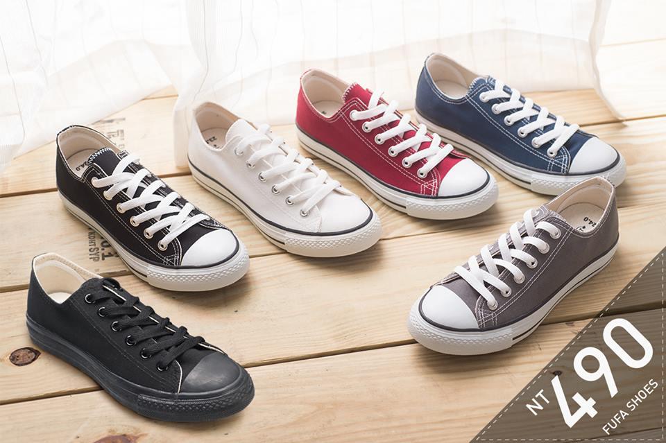 低筒百搭帆布鞋-黑/全黑/白/酒紅/深藍/灰  T41