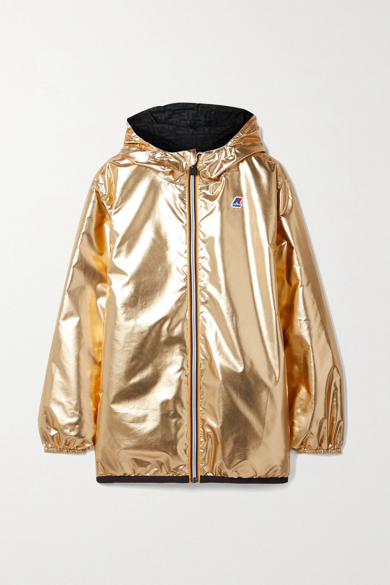 FENDI - + K-way Reversible Hooded Appliquéd Printed Shell Jacket - Gold - large