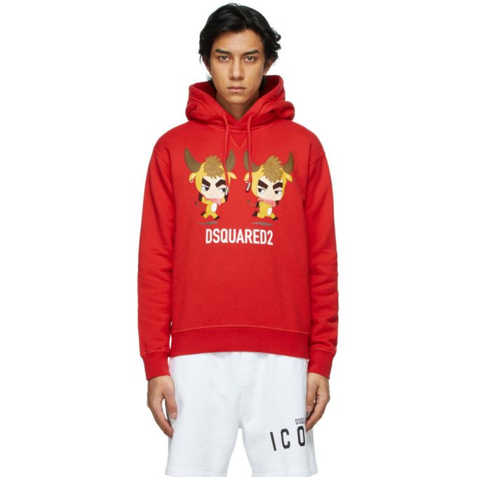 """Dsquared2 红色""""Year Of The Ox""""连帽衫"""