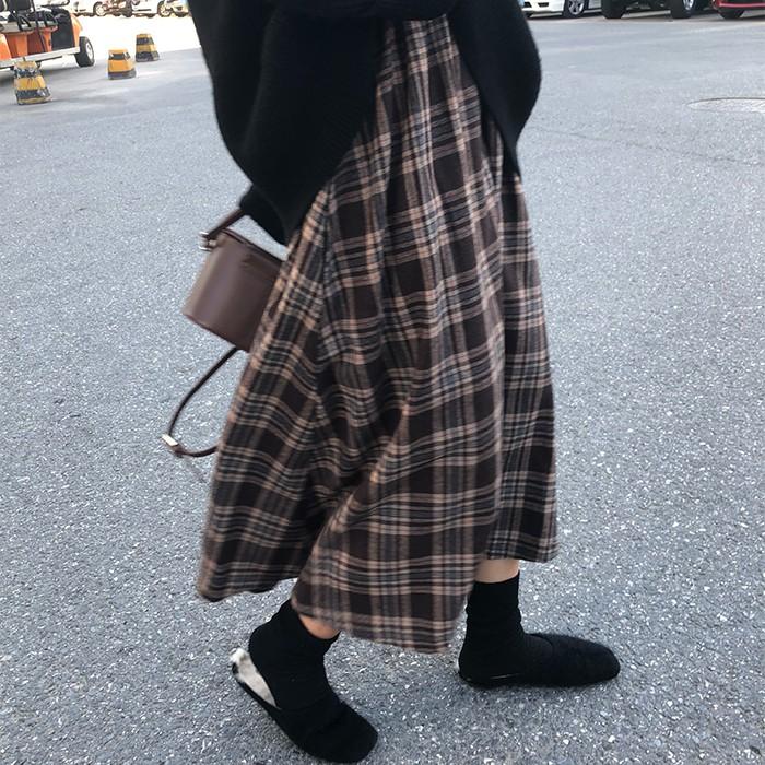 早春韓系棕色格子半身裙傘裙