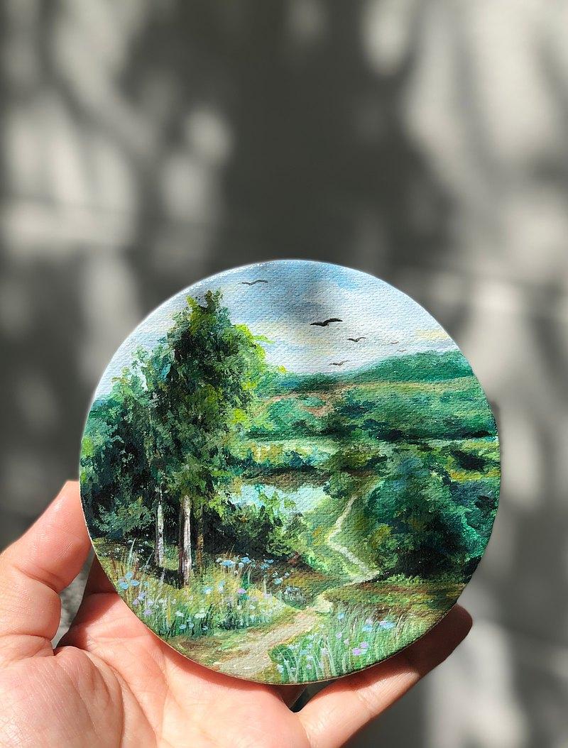 壓克力畫。迷你尺寸。森林丙烯畫。迷你圓形帆布。