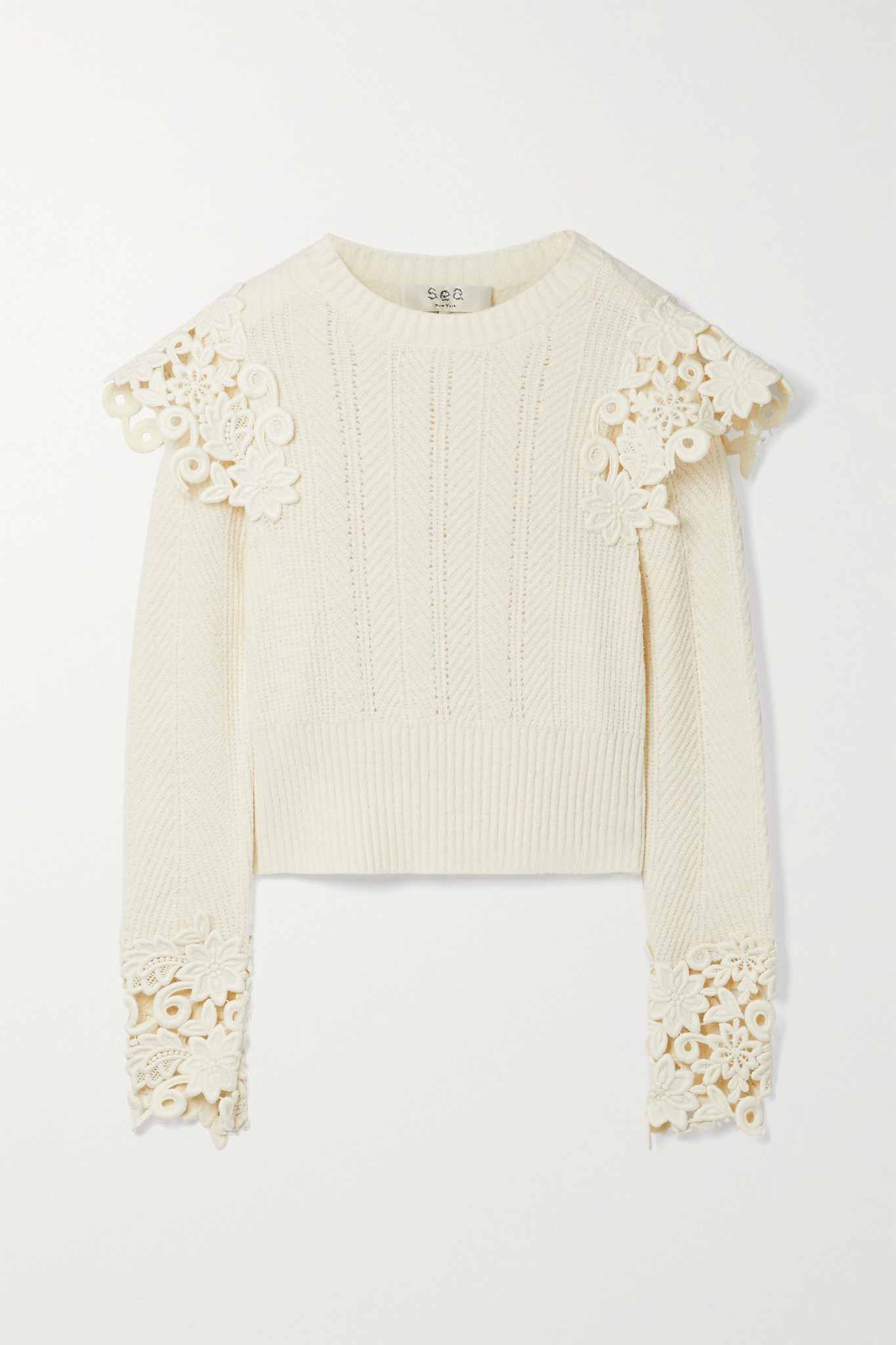 SEA - Zandra Guipure Lace-trimmed Ribbed Cotton-blend Sweater - Ivory - large