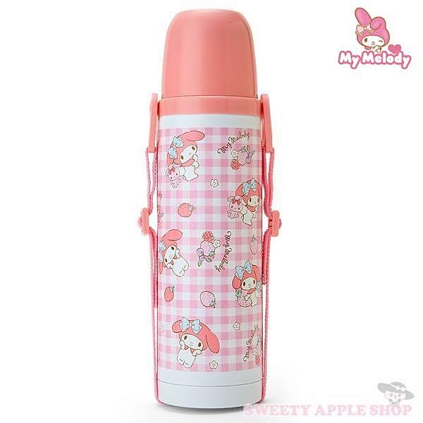 【SAS】日本限定 三麗鷗 美樂蒂 格紋草莓版 2way 輕量型 背帶式 保溫保冷 水壺 / 保溫杯 530ml