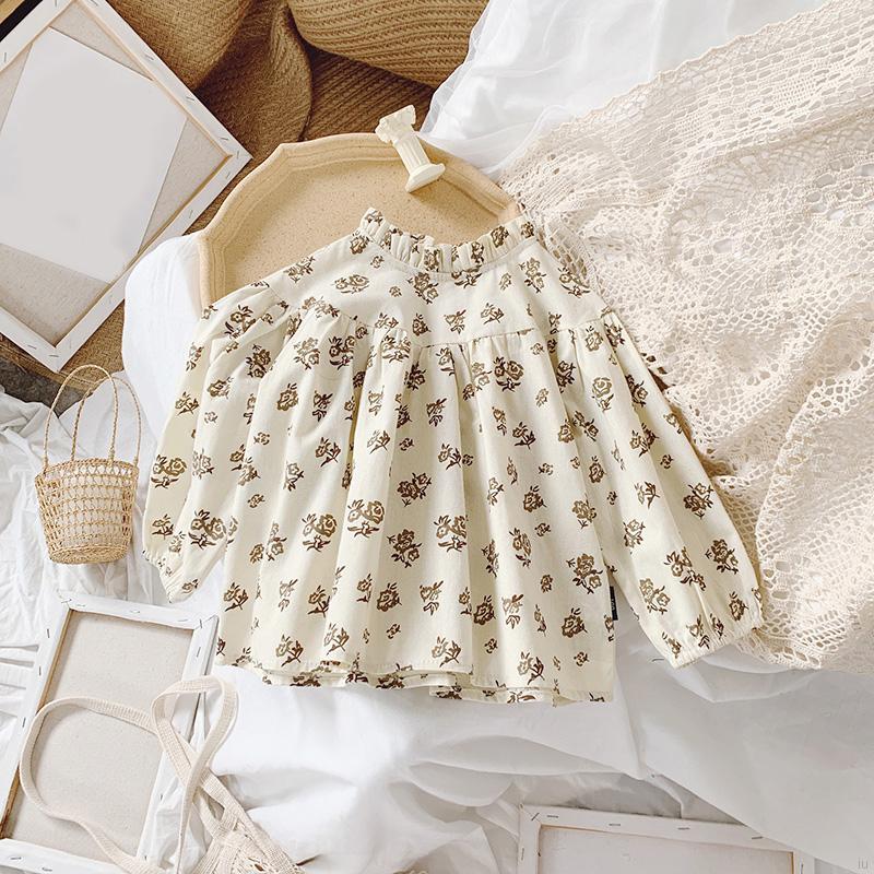 女童春秋新款 可愛復古長袖娃娃衫 兒童休閒碎花襯衫 上衣【IU貝嬰屋】
