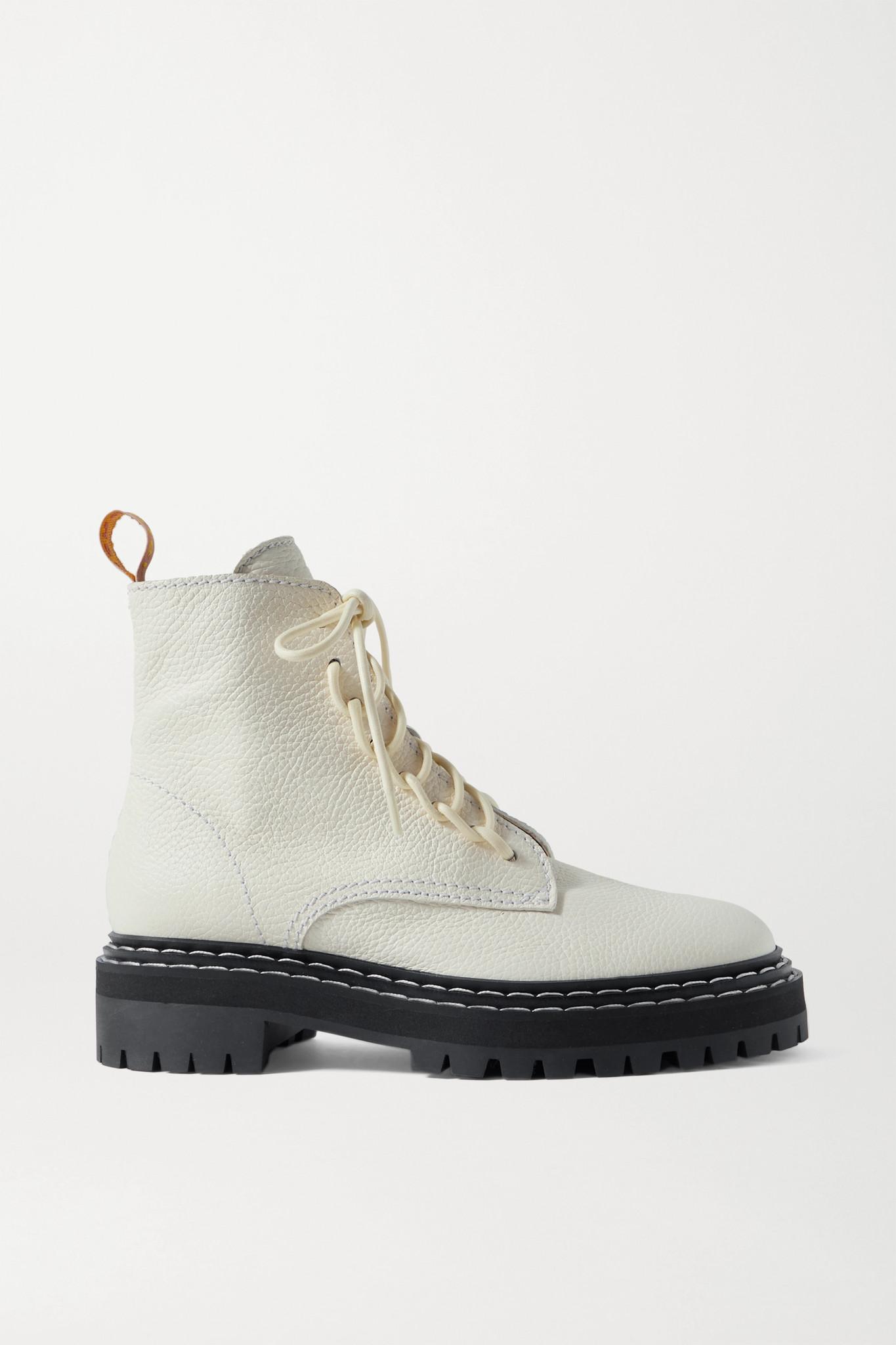 PROENZA SCHOULER - 纹理皮革踝靴 - 白色 - IT35