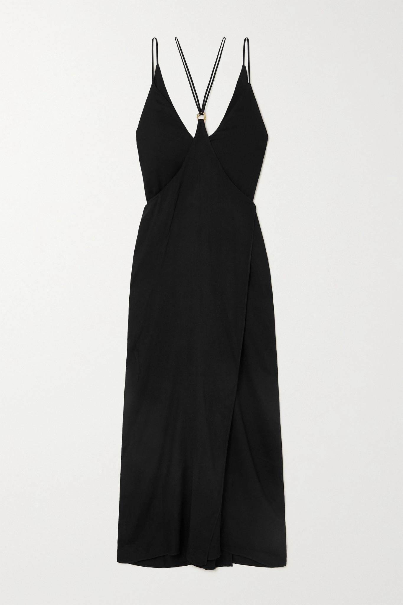 MARIKA VERA - Perdita 多种穿法带缀饰平纹布超长连衣裙 - 黑色 - medium