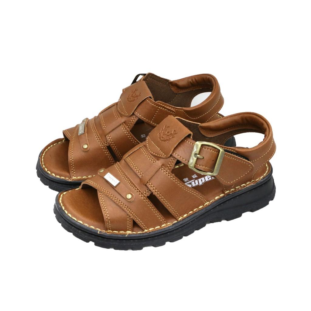 SK 鞋子大王|台灣製造 舒適氣墊涼鞋 手工縫製線條 橫紋咖啡基本款