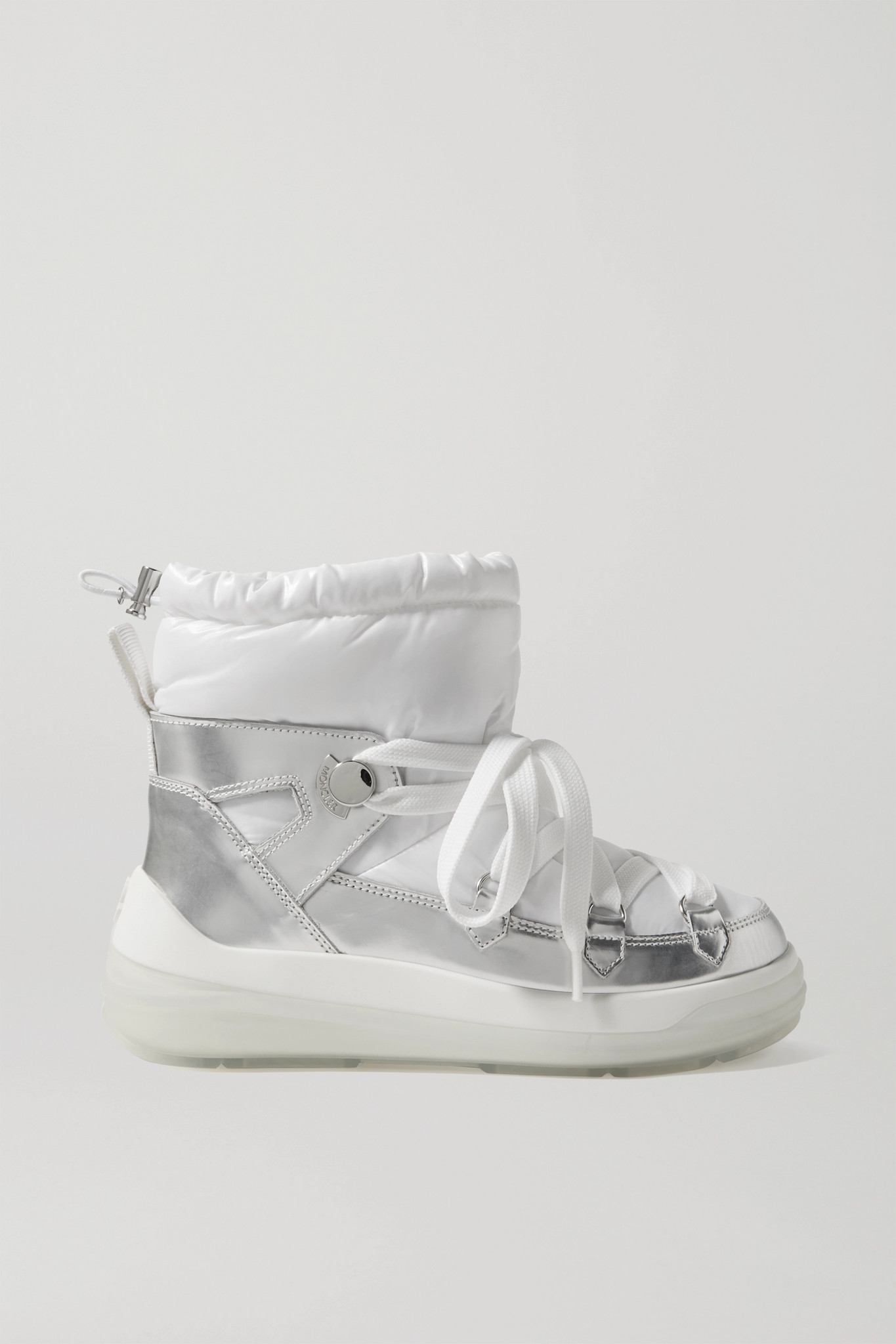 MONCLER - Insolux Metallic Leather And Padded Shell Ankle Boots - White - IT40