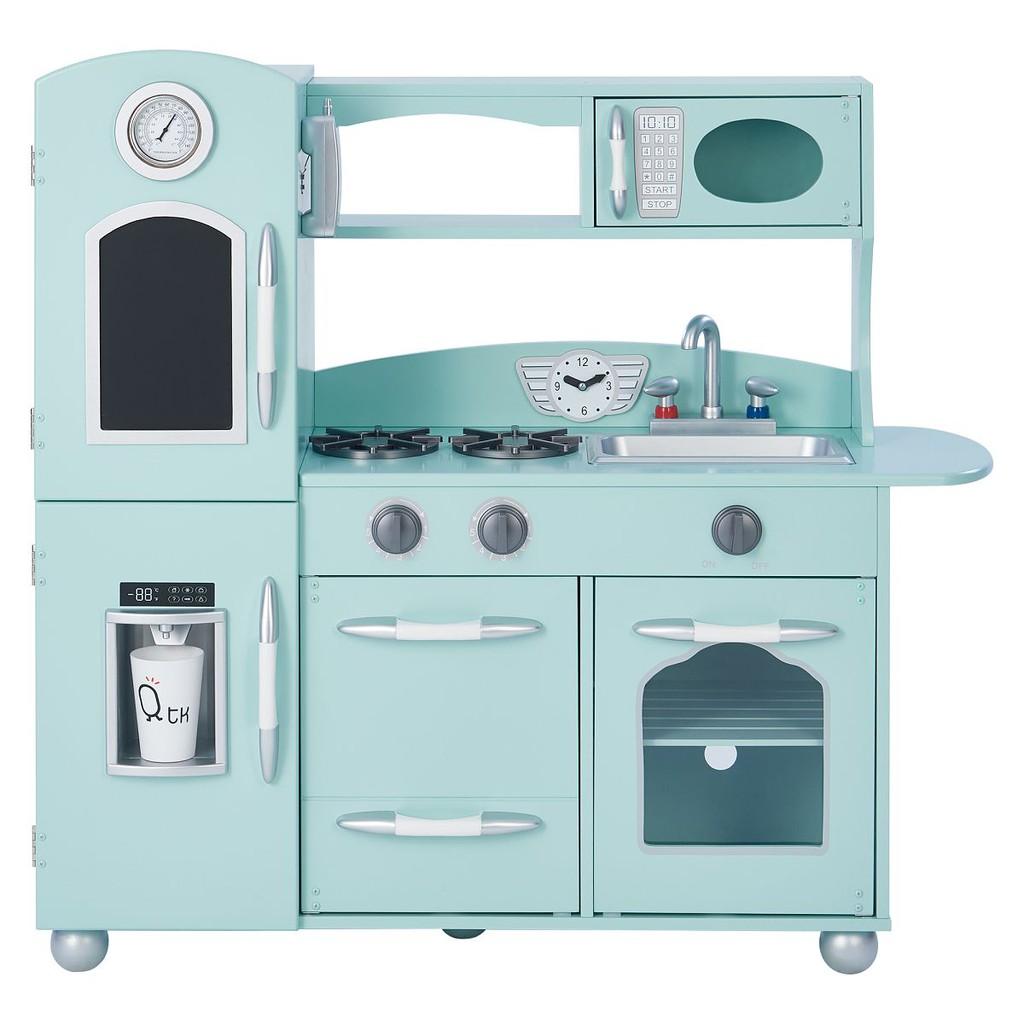 Teamson 奧蘭多北歐風木製廚房玩具-藍綠色