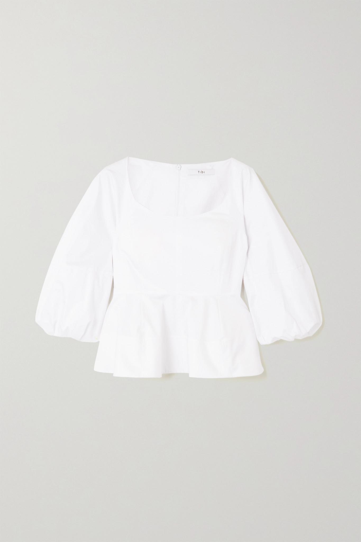 TIBI - 纯棉府绸荷叶腰摆上衣 - 白色 - US2