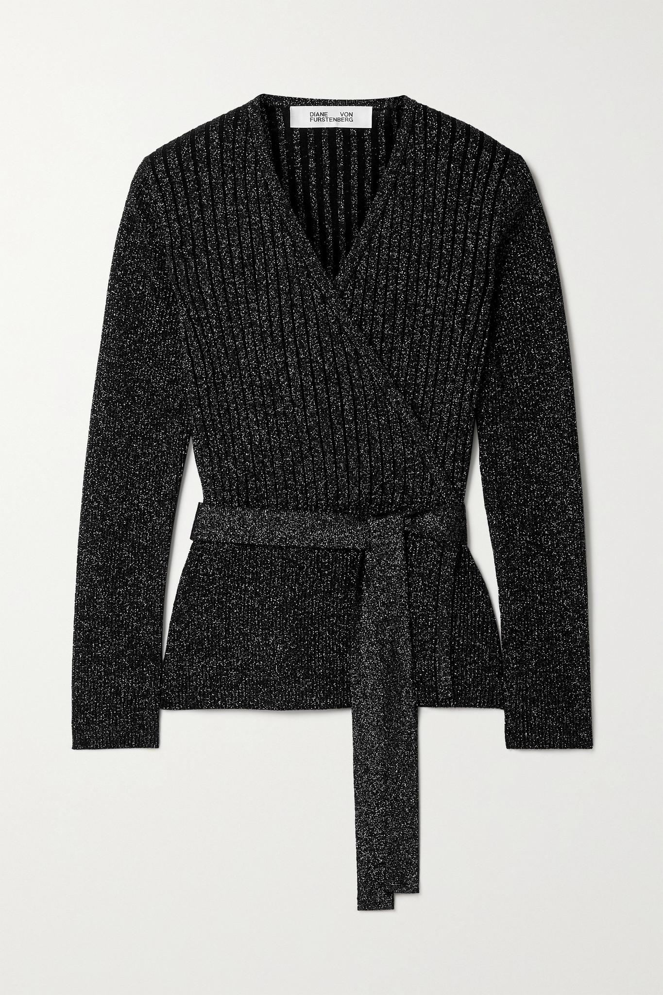 DIANE VON FURSTENBERG - Bonnie 罗纹金属感美利奴羊毛混纺围裹式上衣 - 黑色 - x small