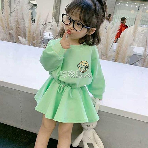 童裝衛衣裙子女童休閒洋裝兒童韓版洋氣新款網紅春裝印花 快速出貨