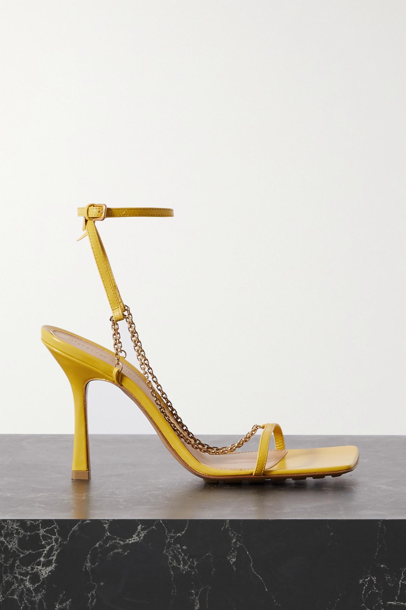 BOTTEGA VENETA - 链条缀饰皮革凉鞋 - 黄色 - IT40.5