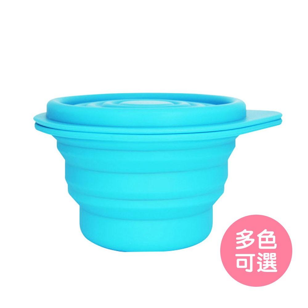 【Lexngo】矽膠折疊餐具-附蓋沙拉碗(大)(多色可選)