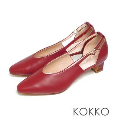 KOKKO超柔軟綿羊皮尖頭鏤空繫帶跟鞋驕傲紅